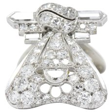 Art Deco 1.80CTW Diamond, 18K White Gold & Platinum Clip / Pendant