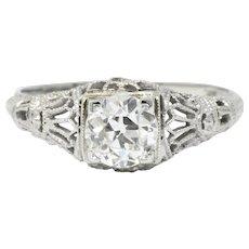 Edwardian .89CTS Diamond & 18K White Gold Engagement Ring, GIA