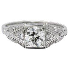 Art Deco .59CTW Diamond & 14K White Gold Engagement Ring