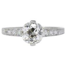 Kirk Art Deco .96CTS Diamond & Platinum Engagement Ring, GIA