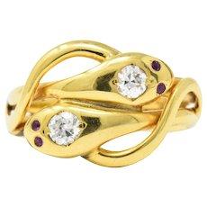Seductive Victorian .30CTW Diamond, Ruby & 14K Gold Snake Ring