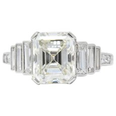 Art Deco 3.64 CTW Asscher Cut Diamond & Platinum Alternative Ring GIA