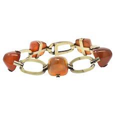 Art Nouveau Carnelian & 14K Gold Bracelet