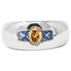 1.19 CTW Fancy Intense Yellow-Orange Diamond, Sapphire & Platinum Men's Ring, GIA