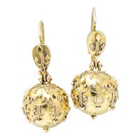 Victorian Etruscan Revival 14 Karat Gold Drop Earrings Circa 1870