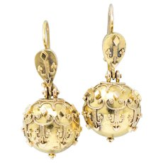 Pair of Victorian Etruscan Revival 14K Gold Drop Earrings