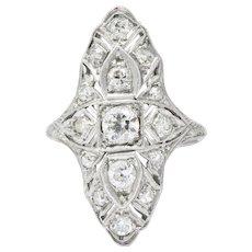 Art Deco 1.32CTW Diamond & Platinum Dinner Ring