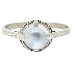 Luminous Edwardian Moonstone & Platinum Ring