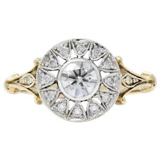Ornate .73CTW Diamond & Platinum-Topped 14K Gold, CA 1950's