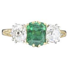 Edwardian 2.06 CTW Colombian Emerald, Diamond, Platinum & 18K Gold Alternative Engagement Ring