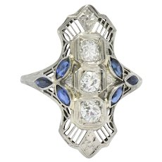 Edwardian 0.35CTW Diamond, Synthetic Sapphire & 18K White Gold Dinner Ring