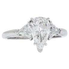 1.27CTS Pear Trillion Diamond  Platinum Engagement Ring, GIA