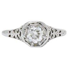 Edwardian 0.45CTS Diamond & 19K White Gold Engagement Ring