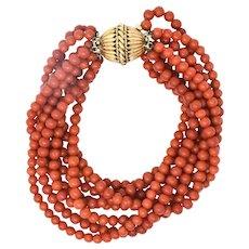 Retro Coral  14 Karat Yellow Gold Torsade Bead Bracelet