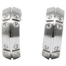 Pair of Tiffany & Co. Diamond  18K White Gold Earrings, Streamerica,