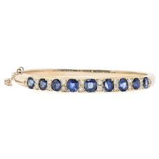 Victorian 4.00CTW Sapphire, Diamond & 14K Gold Bangle Bracelet