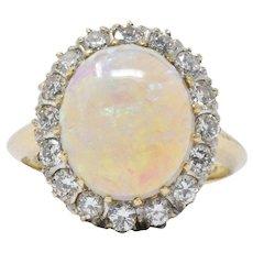 Victorian 0.65CTW Diamond, Opal & 14K Gold Ring