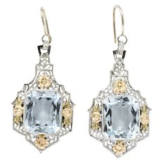 Art Deco 9.00CTW Aquamarine & 14K Tri-Color Gold Drop Earrings