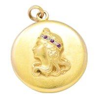 Art Nouveau Diamond Ruby 14 Karat Gold Locket Pendant
