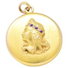 Art Nouveau Diamond Ruby 14 Karat Gold Locket Pendant