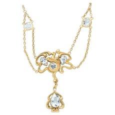 Art Nouveau Aquamarine 14 Karat Gold Swag Necklace