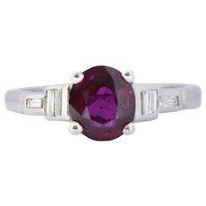 Bright Art Deco 1.61 CTW Ruby and Diamond Platinum Alternative Engagement Ring