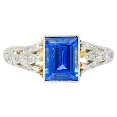 Edwardian 1.37CT No Heat Ceylon Sapphire Diamond Platinum-Topped Gold Ring, AGL