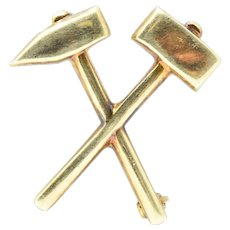 Tiffany & Co. Victorian 14 Karat Gold Hammer and Pick Brooch Pin