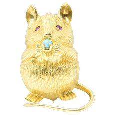 Adorable Tiffany & Co. Turquoise Ruby 18 Karat Yellow Gold Mouse Brooch