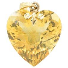Art Nouveau Bailey Banks & Biddle 29.57 CTS Citrine Heart 14 Karat Gold Pendant