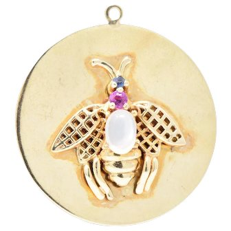1940's Moonstone Sapphire Pink Sapphire 14 Karat Gold Large Insect Charm