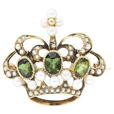 Late Victorian Peridot Seed Pearl 14 Karat Gold Crown Brooch Pin