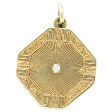 Clark Ring Co. Art Deco Diamond 14 Karat Gold Locket Pendant