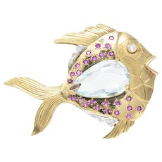 1950's Retro Aquamarine Ruby Diamond 14 Karat Gold Platinum Fish Brooch