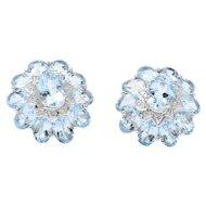 Kings Contemporary Blue Topaz Diamond 18 Karat White Gold Earrings
