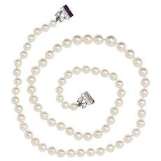 Cartier Paris Art Deco Diamond Ruby Platinum Cultured Pearl Strand Necklace