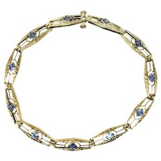Krementz 1.76 CTW Sapphire 14 Karat Gold Art Nouveau Bracelet Circa 1910