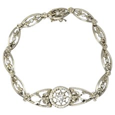 Edwardian 0.30 CTW Diamond And 10 Karat White Gold Bracelet