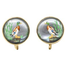 Art Nouveau Reverse Painted Carved Crystal Mother Pearl 14 Karat Gold Duck Earrings