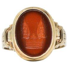 Victorian Carnelian Intaglio 14 Karat Gold Signet Unisex Men's Ring