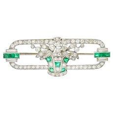 Art Deco Diamond Emerald Platinum Giardinetto Floral Bouquet Bar Brooch