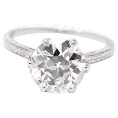 2.65 Carat Exquisite Platinum Art Deco Solitaire Diamond Engagement Ring GIA