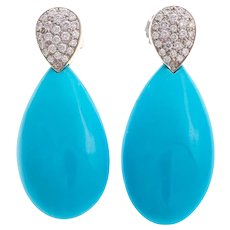 Lovely Vintage Gump's Turquoise & Diamond Drop Earrings