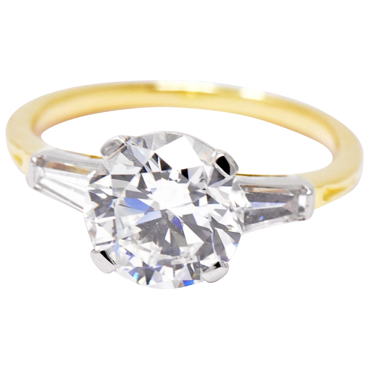 a49367704c0ae 2.60 Carat Tiffany & Co. Platinum 18K Yellow Gold Diamond Tapered Baguette  Engagement Ring