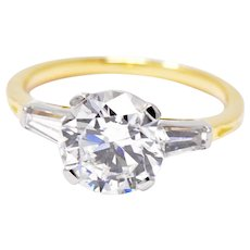 2.60 Carat Tiffany & Co. Platinum 18K Yellow Gold Diamond Tapered Baguette Engagement Ring