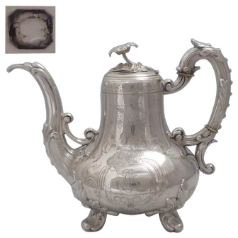 Stunning Antique 1890s French All Sterling Silver Tea Pot Napoléon III Style.
