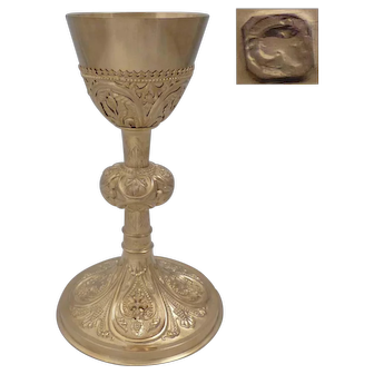 Antique 1860s French all sterling silver/vermeil 18k Gold Chalice
