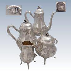 PUIFORCAT :  Antique 1880s French sterling silver tea & coffee pot set of 4 pieces 73 oz