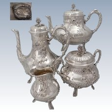 Antique 1880s French sterling silver tea coffee pots sugar bowl and creamer set 4pc 66 oz