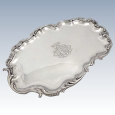 Luxurious Antique 1890s French sterling silver liquor serving tray Rococo style 11.8 in.